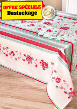 "Nappe ""jardin de roses"" + 4 serviettes de table assorties"